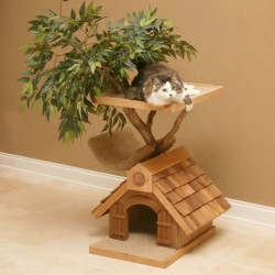 Cat tree house with bark and leaves