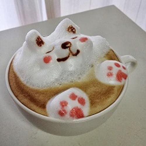 latte art cat in coffee
