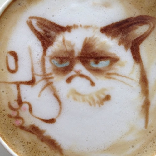 latte art grumpy cat